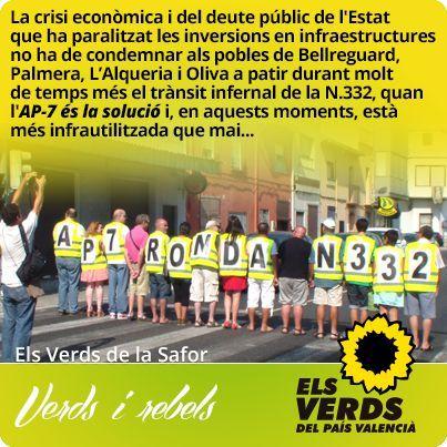 Els Verds exigeixen reconvertir l'AP-7 en ronda comarcal de la N.332 al seu pas per la Safor