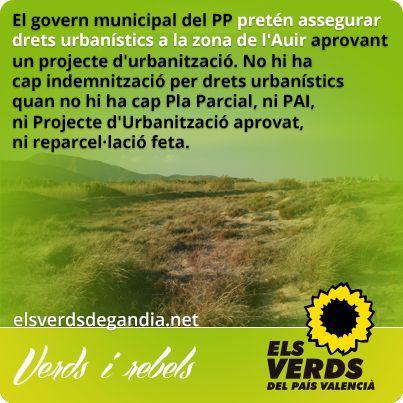 Els Verds denuncien que el govern municipal del PP pretén assegurar drets urbanístics a la zona de l'Auir aprovant un projecte d'urbanització