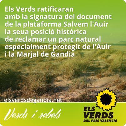 Els Verds ratificaran amb la signatura del document de Salvem l'Auir la seua posició històrica de reclamar un parc natural de l'Auir i Marjal de Gandia