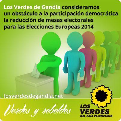 Los Verdes de Gandia consideran un obstáculo a la participación democrática la reducción de mesas electorales para las Elecciones Europeas