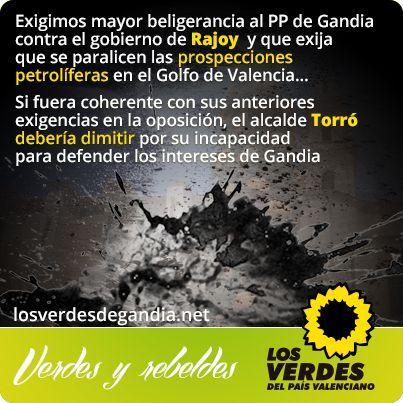 Los Verdes critican el silencio e inactividad del PP de Gandia ante la inminencia de las prospecciones petrolíferas en el Golfo de Valencia