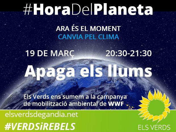 Els Verds de Gandia ens sumem a la campanya de mobilització ambiental Hora Del Planeta de WWF