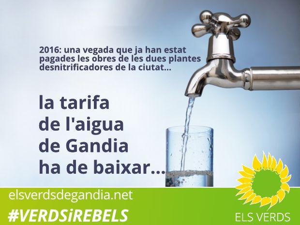 Peris demana l'anul·lació de la modificació de la tarifa de l'aigua potable de Gandia