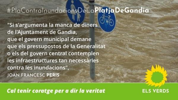 Els Verds demanen al govern municipal l'acabament de les obres previstes del Pla Contra Inundacions de la Platja de Gandia