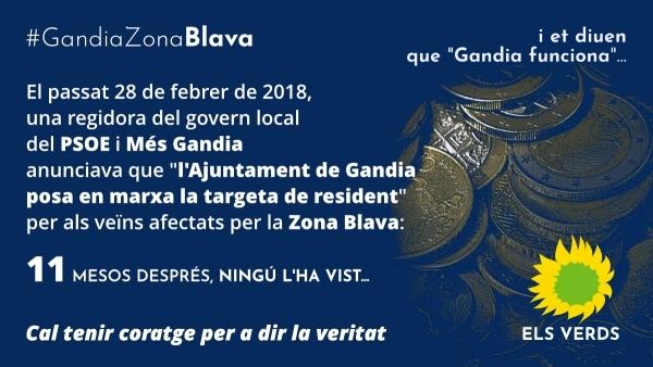Els Verds denuncien que, 11 mesos després, Gandia continua sense nova ordenança ni targeta per a residents de l'ampliada Zona Blava