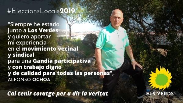 Alfonso Ochoa, histórico líder del movimiento vecinal de la plaza El·líptica, cerrará la candidatura de Los Verdes de Gandia