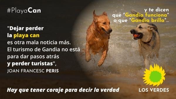 Els Verds valoren molt negativament per a l'oferta turística de Gandia la desaparició de la platja can