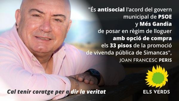 Els Verds consideren antisocial l'acord del govern municipal de posar en règim de lloguer amb opció de compra els 33 pisos de la promoció de vivenda pública de Simancas