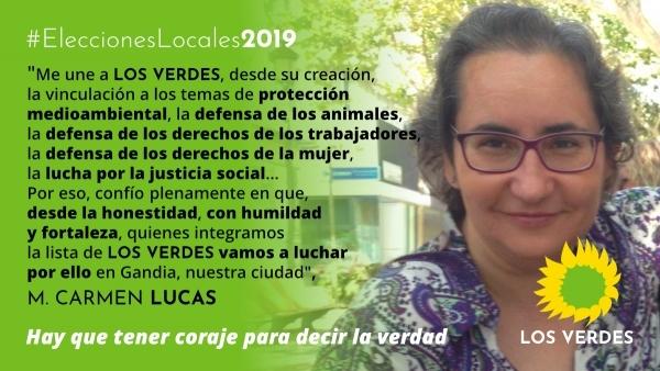 Mari Carmen Lucas se suma a la candidatura de Los Verdes para el Ayuntamiento de Gandia