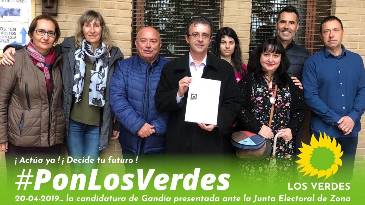 Los Verdes de Gandia presentan su candidatura ante la Junta Electoral de Zona