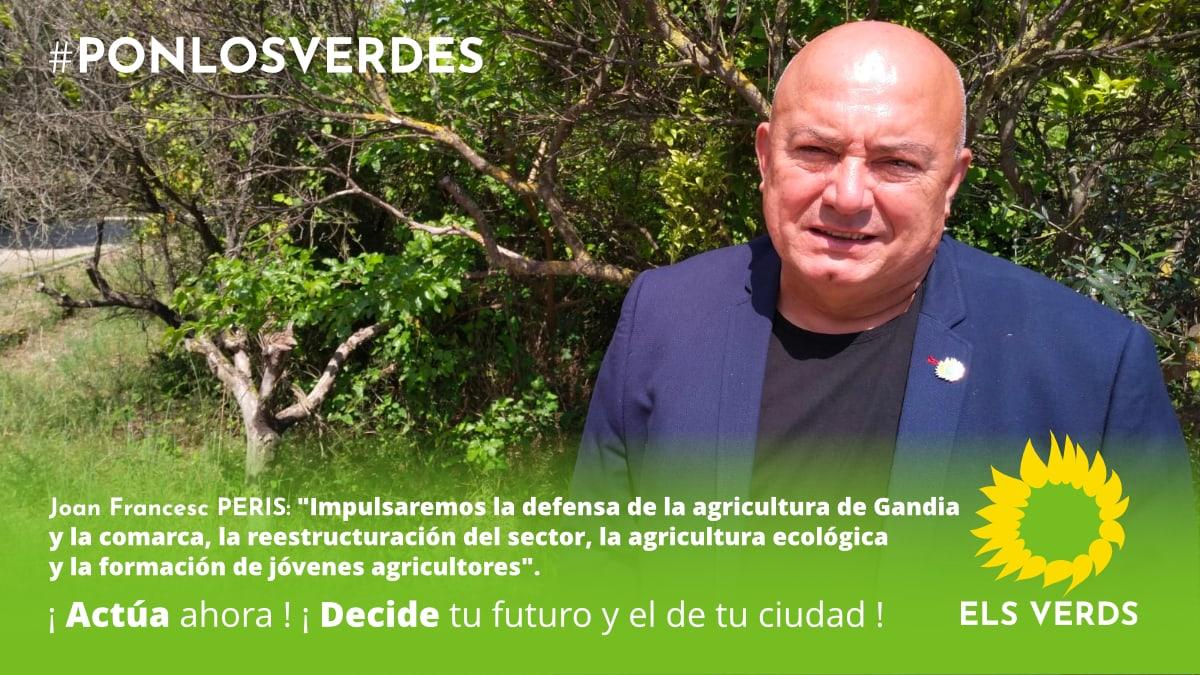 Els Verds impulsaran la defensa de l'agricultura de Gandia i la comarca, la reestructuració del sector, l'agricultura ecològica i la formació de joves agricultors