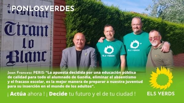 Els Verds proposen l'acceleració dels projectes de rehabilitació i construcció dels centres educatius i la conversió de l'IES Tirant lo Blanc en el centre integrat d'FP de la comarca