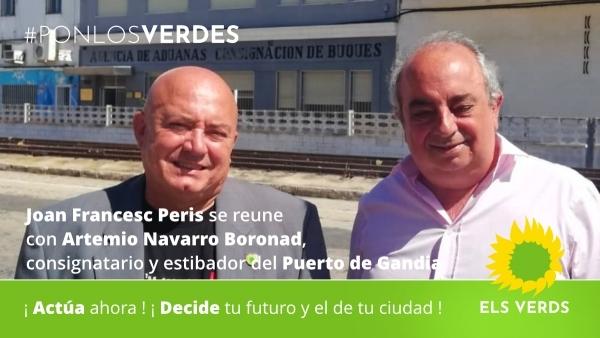 Joan Francesc Peris es reuneix amb Artemio Navarro Boronad, consignatari i estibador del Port de Gandia per a tractar de la situació del comerç marítim i l'impuls de les infraestructures portuàries del Grau de Gandia