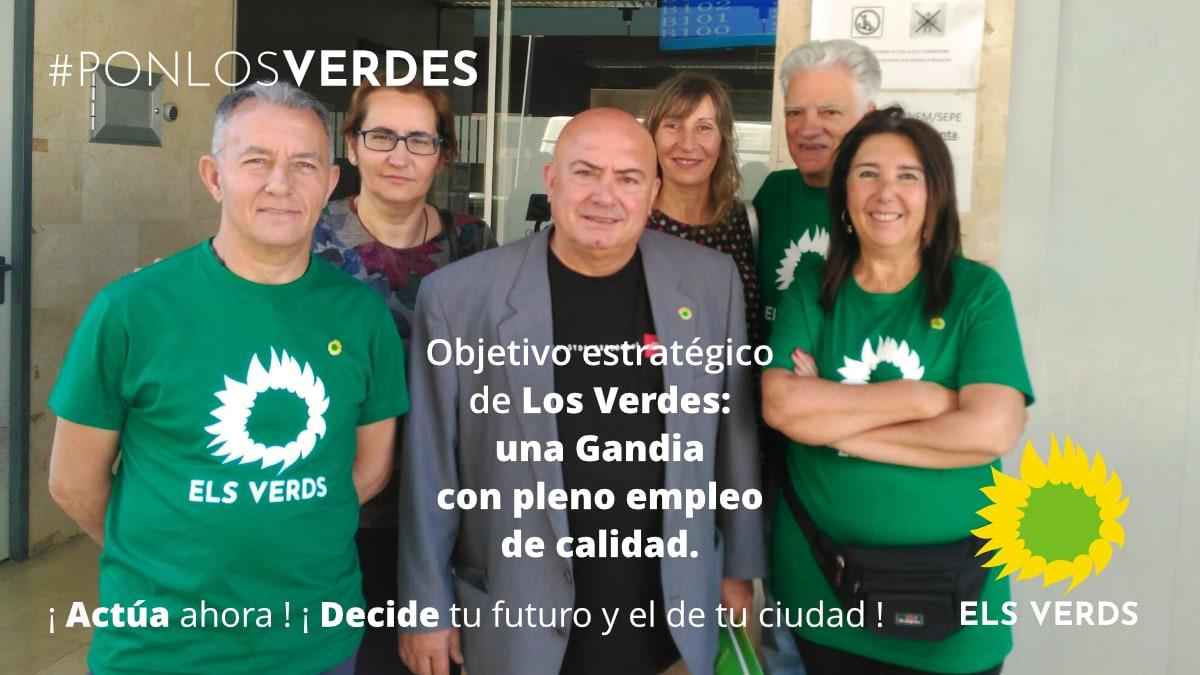 Objectiu estratègic d'Els Verds: una Gandia amb plena ocupació de qualitat