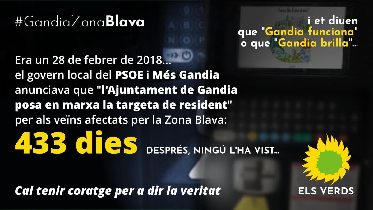 Els Verds de Gandia insisteixen en la necessitat de revisar la taxa municipal, encara vigent des de 2007, de la Zona Blava (ORA)